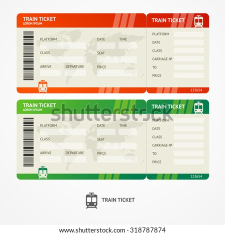 illustration train tickets. Travel concept. Isolated on white.  - stock photo