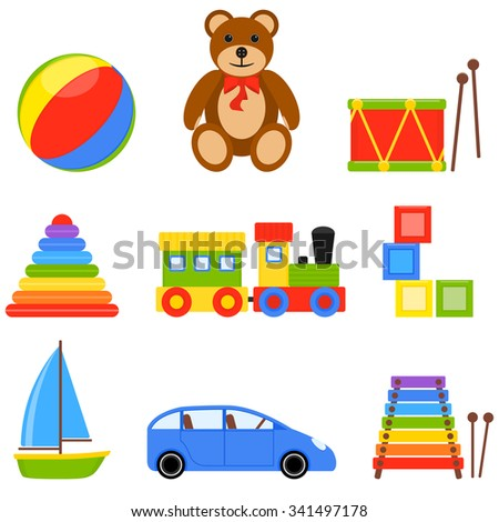 Illustration with colorful icons of children toys