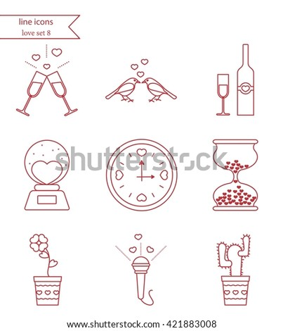illustration with different Valentines Day and love elements. line icons. Love set 8. - stock photo