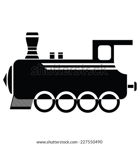 illustration with locomotive icon  on a white background - stock photo