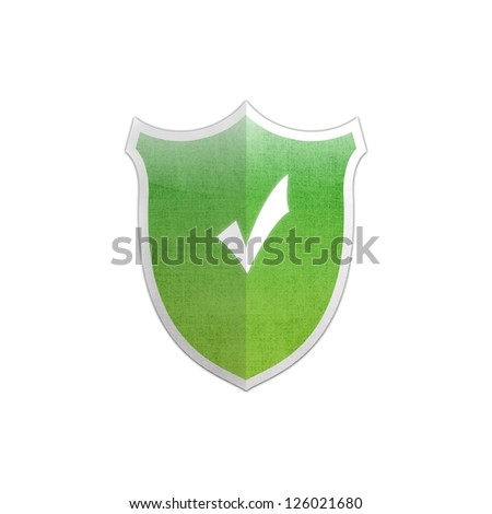 Illustration with Ok sign secure shield on white background. - stock photo