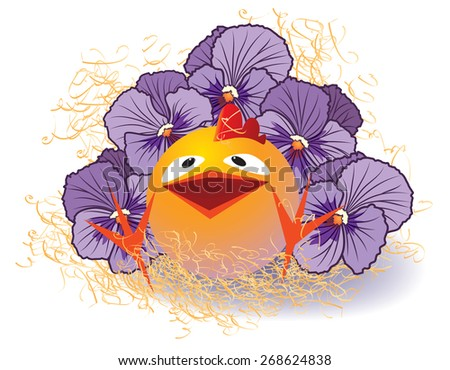 illustration with violet pansies and chicken  - stock photo