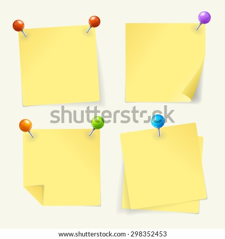 illustration. yellow paper set  pinned  ready for your text
