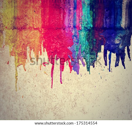 image from color and texture background series (melted coloring crayons) good for back to school theme or teaching school children primary colors done with a retro vintage instagram filter  - stock photo