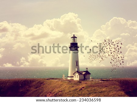 image from outdoor texture background series (old white lighthouse on the ocean coastline) toned with a retro vintage instagram filter effect - stock photo