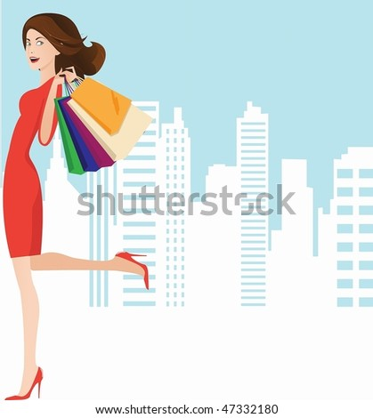 image of a beautiful girl in a red dress with a successful shopping. - stock photo