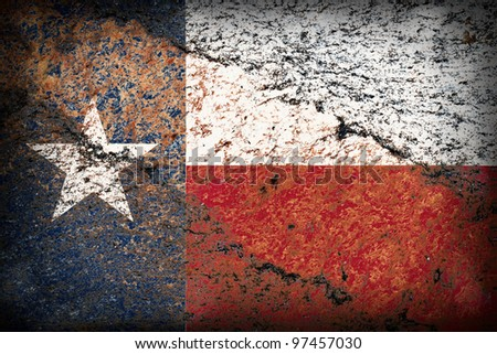 Image of an old Texas flag on the rock texture - stock photo