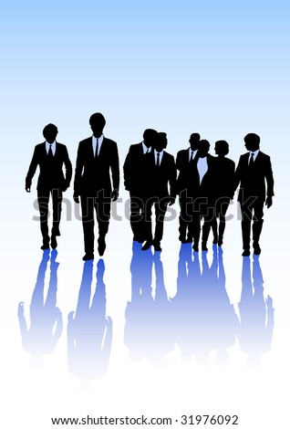 image of business people. Black silhouettes