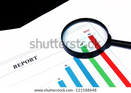 image of document chart and magnifying glass - stock photo