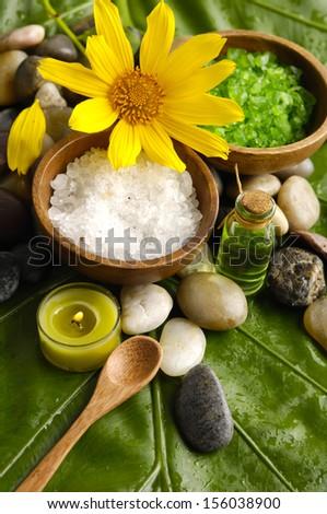 image of tropical spa and banana leaf - stock photo