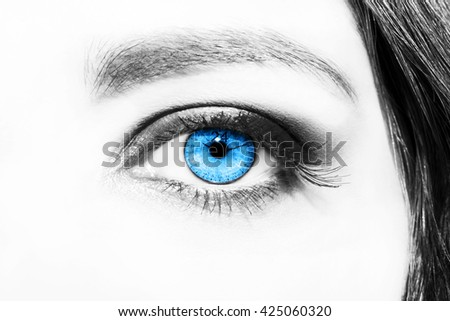 Image of woman's eye with time concept - stock photo