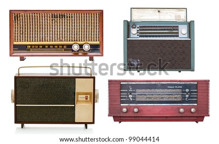 4 images of the old vintage radios - stock photo