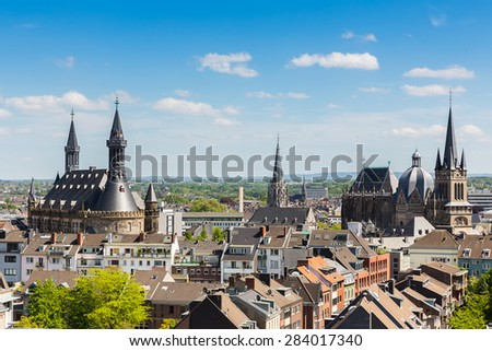 Imperial City of Aachen with cathedral and town hall, germany - stock photo