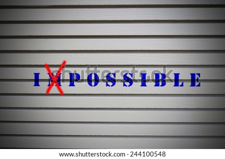 Impossible message on gray wall. Business Concept. - stock photo