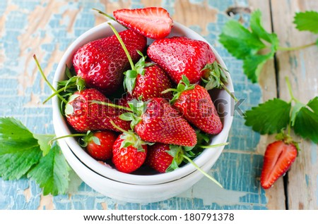 In a bowl of fresh strawberries - stock photo