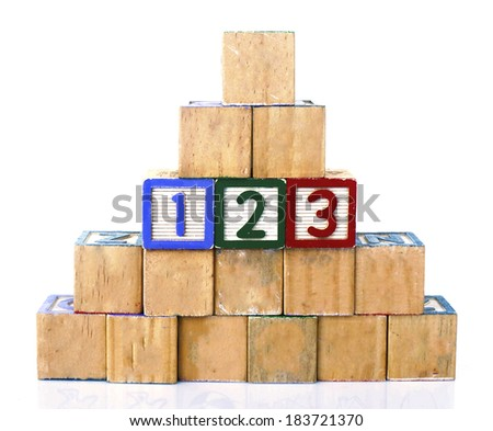 123 in alphabet wooden word blocks isolated on a white background                  - stock photo