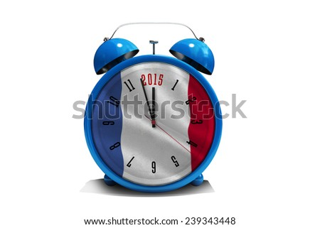 2015 in blue alarm clock against digitally generated france national flag