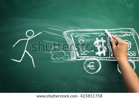 In constant chase for the money â?? concept with stickman on chalkboard in chase for money  - stock photo
