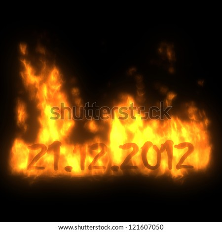 21.12.2012 in fire, apocalypse and end of the world concept, 3d - stock photo