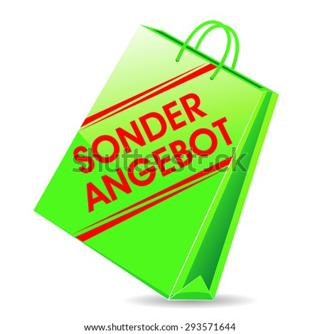 "In german ""Sonderangebot"" Translation in english: bag - special offer. - stock photo"