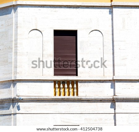 in italy window and door white  colors wall, old architecture - stock photo
