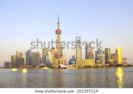 2012 in Shanghai skyline panorama - stock photo