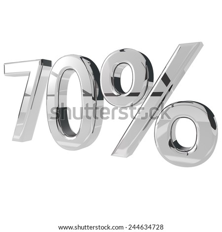 70% in silver metal, isolated over white, 3d render - stock photo