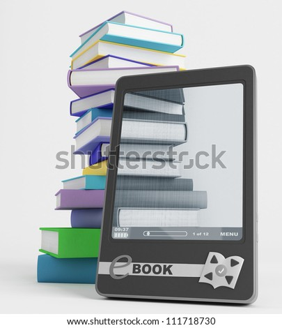 In the E-book display visible images of books - stock photo