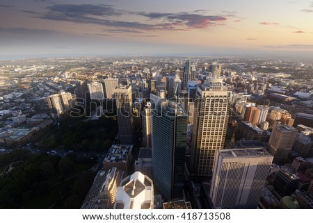 In the evening, Sydney Tower aerial view of the city