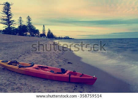 In the evening, the coast of Queensland in Brisbane - stock photo
