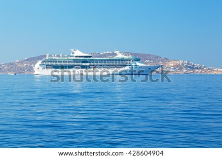 in the mediterranean sea cruise greece island in santorini europe boat harbor and pier - stock photo