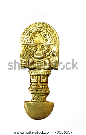 Inca indian ritual knife of gold over white background