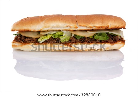 12 inch grilled Philly cheese steak - stock photo