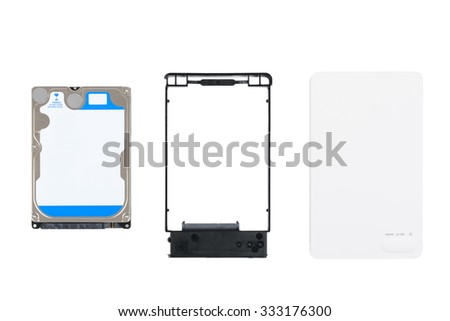 2.5 inch HDD(Hard Disk Drive) and components of USB External Enclosure case, isolated on white. - stock photo