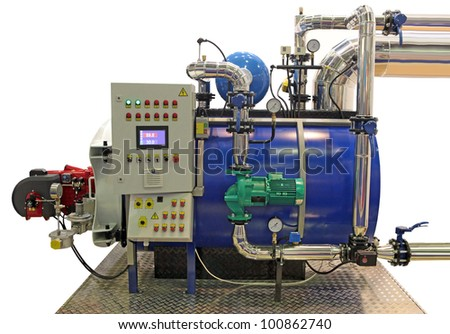 independent modern gas boiler room with manometers, valves, pumps and  pipelines - stock photo