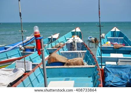 India, Kanyakumari, fishing boats                            - stock photo