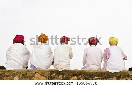 5 Indian man in turban looking away - stock photo