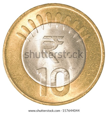 10 indian rupees coin isolated on white background