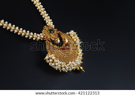 Indian Traditional Gold Necklace With Pearl