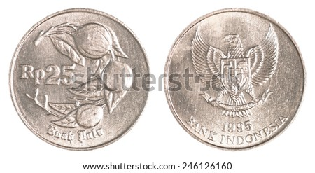 25 Indonesian rupiah coin isolated on white background