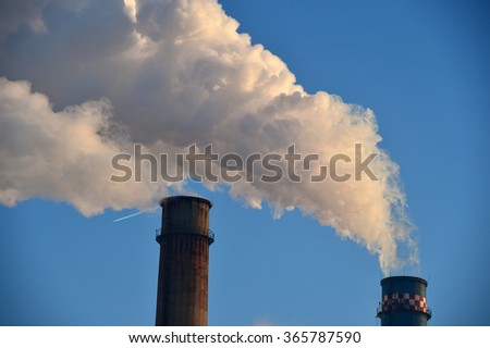 Industrial chimney for the population heating during wintertime