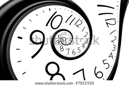 infinity time spiral clock background - stock photo