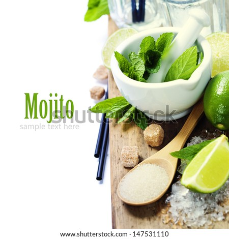 Ingredients for Caipirinha, Mojito Cocktails and other drinks  (with sample text) - stock photo