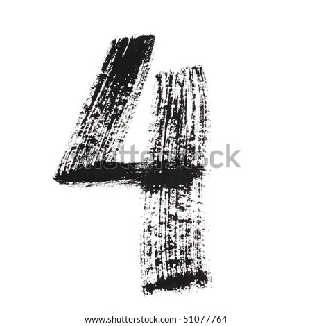 4 - Ink numbers isolated over the white background - stock photo