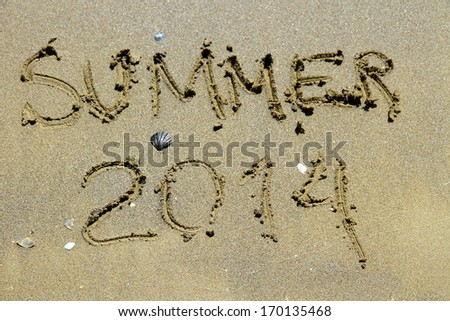 Inscription summer 2014 on sea sand beach, top view - stock photo