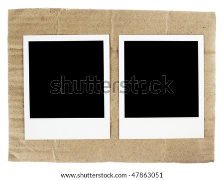 instant photo film blanks on the cardboard background background