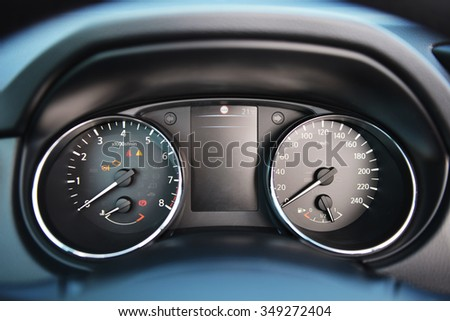 instrument panel of  modern car - stock photo