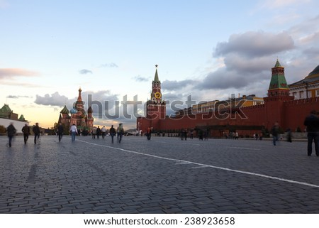 Intercession Cathedral  and  Towers of Moscow Kremlin at Red Square in Moscow. Russia - stock photo