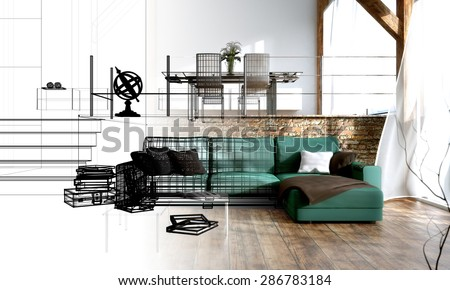Interior Design 3d Render Draft Living Stock Illustration