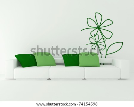 interior design of modern white living room with big white sofa and green pillows, 3d render - stock photo